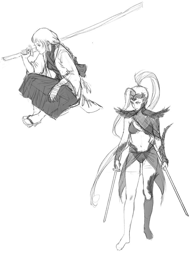 sword ladies sketches by SenChan