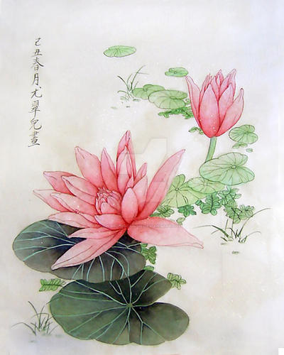 Chinese Painting Lotus By N Midnightblue On Deviantart
