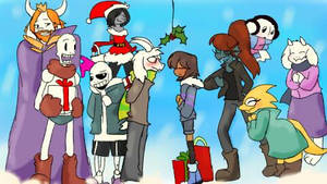 Christmas whit undertale, Asriel x Frisk