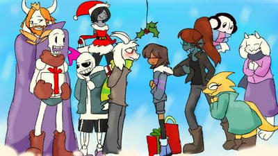 Christmas whit undertale, Asriel x Frisk  by Ros3tte