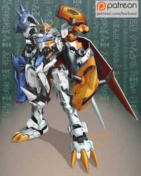 Gundam X Digimon- Gundam Barbatos Omnimon/Omegamon