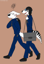 Kyoshiro and GB off to school