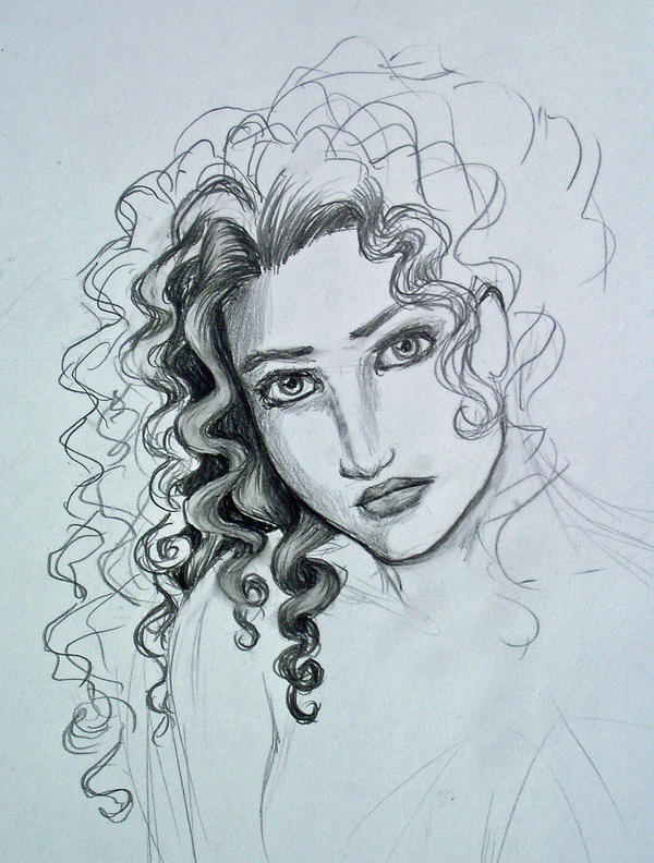 How to draw girl curly hair