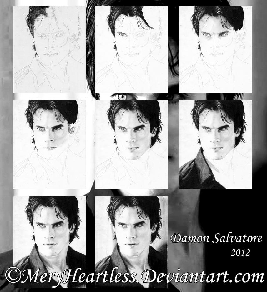 Damon Salvatore *Process* by MeryHeartless