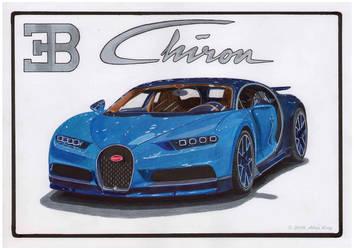 Drawing of Bugatti Chiron by AlexKingART
