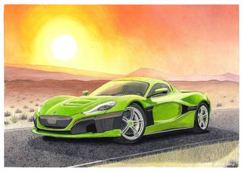 Drawing of Rimac C_Two by AlexKingART