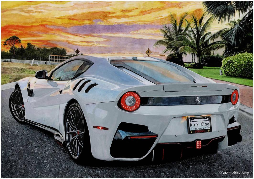Drawing of Ferrari F12 by AlexKingART