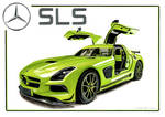 Drawing of Mercedes SLS by AlexKingART