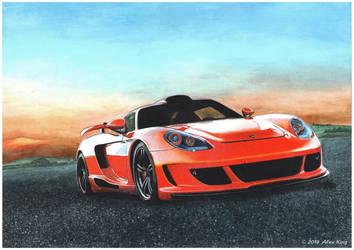 Drawing of Porsche Carrera GT Gemballa Mirage GT by AlexKingART