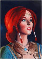 Portrait of Disharmonica as Triss Merigold.