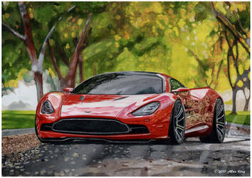 Drawing of Aston Martin by AlexKingART