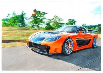 Drawing of Mazda RX-7 Veilside by AlexKingART