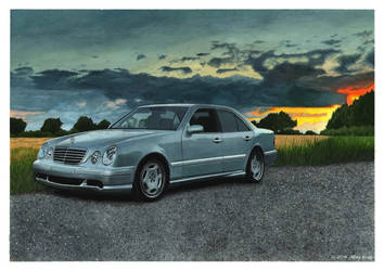 Drawing of Mercedes-Benz W210 by AlexKingART