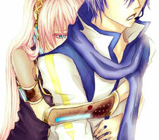 Those hugs from behind ~ Luka x Kaito by TheCecile