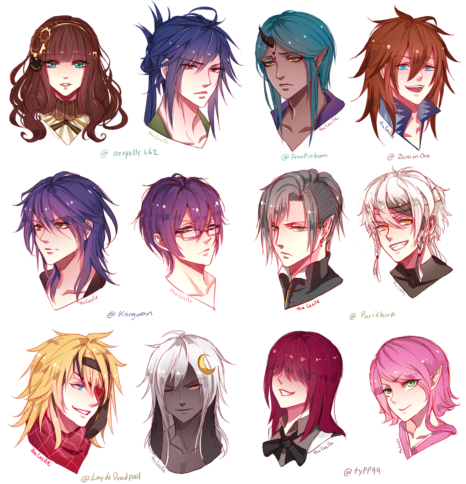 Comm Headshot Sketch Batch 1 by TheCecile on DeviantArt