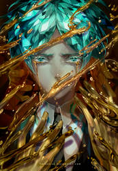 Phosphophyllite - Agate - Gold (+Speedpaint) by TheCecile