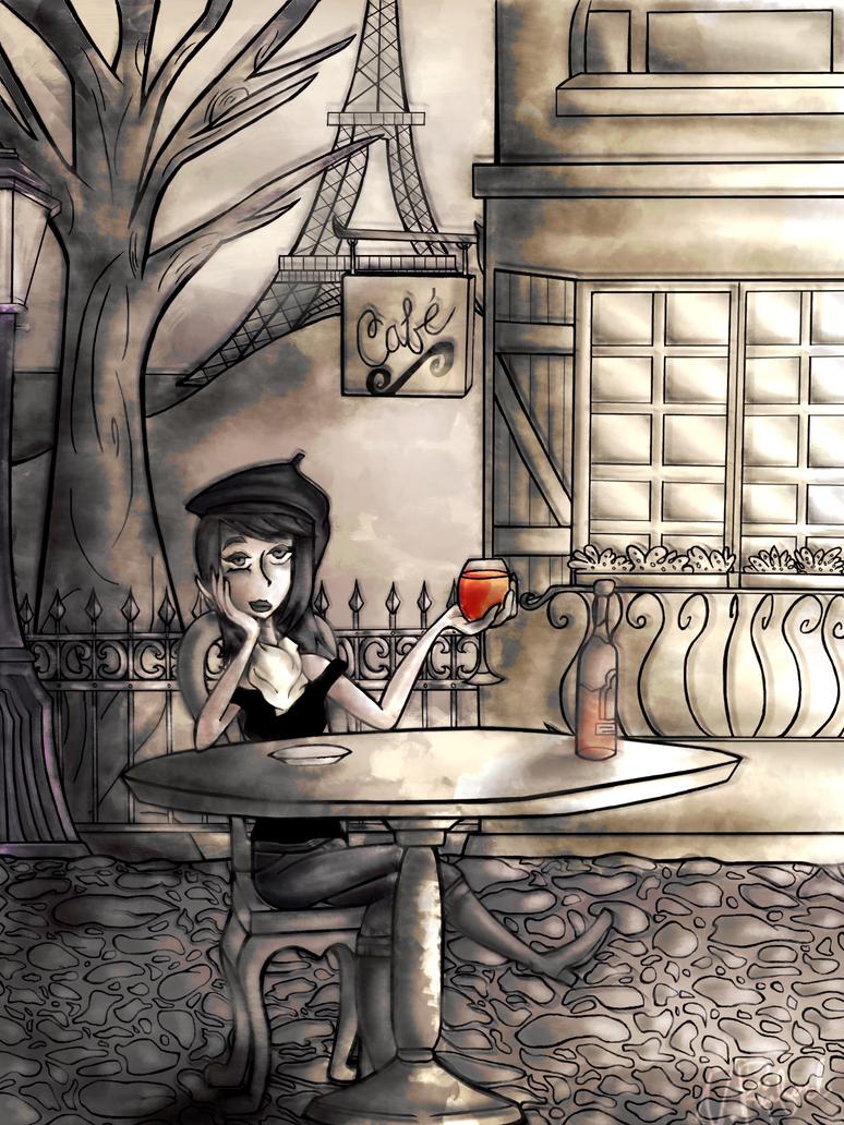 A Swanky Parisian Cafe by Nikrain
