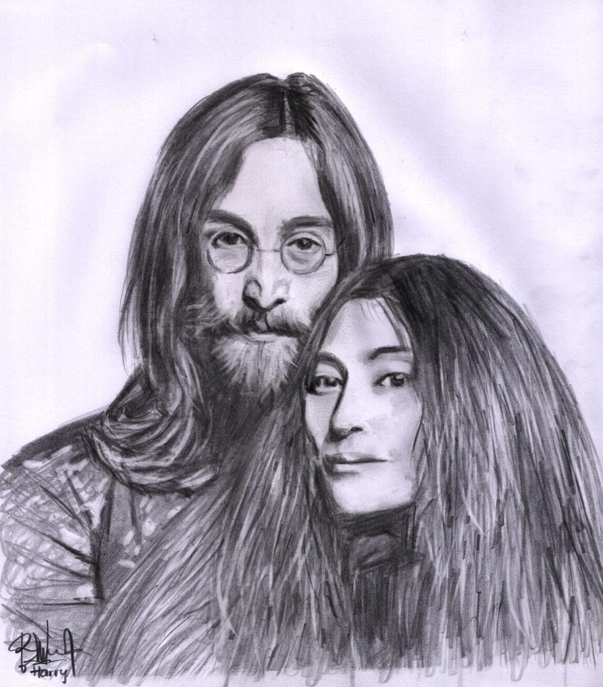 British Beatles Fan Club: Imagine the Art of John Lennon |Sketches John Lennon And Yoko Ono