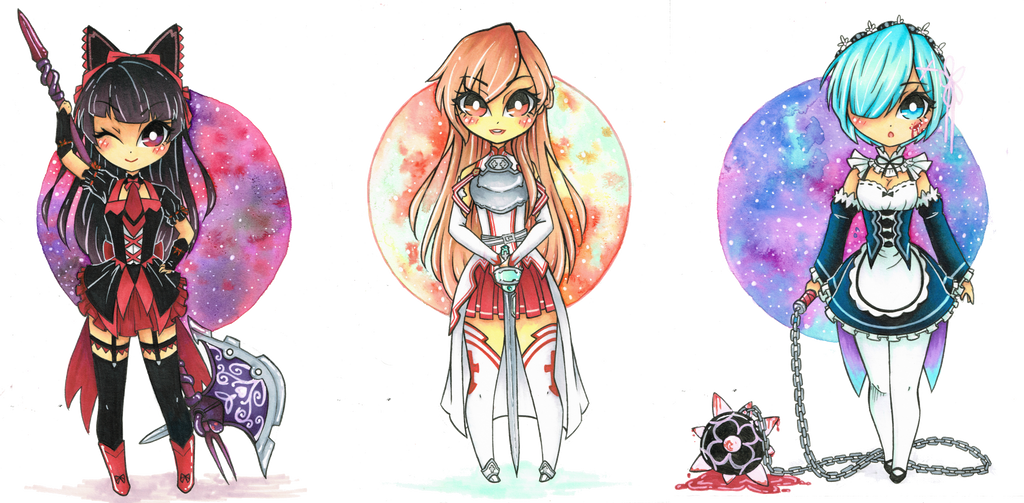 Chibi Commission: Rory, Asuna, Rem by cheese-cake-panda