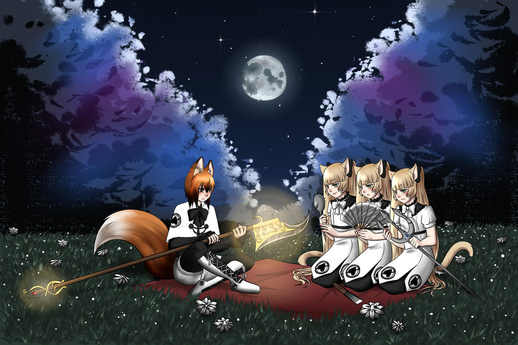 William and the triplets on a blanket by kiba-chan27