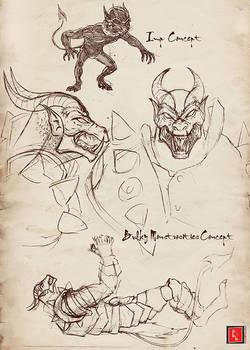 Bulky Demon and Imp Sketch