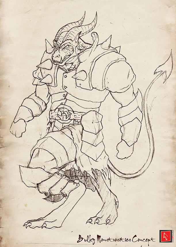 Bulky Demon Sketch by castortroy3497