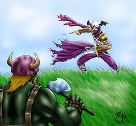 Assassin vs. Orc Warrior by castortroy3497