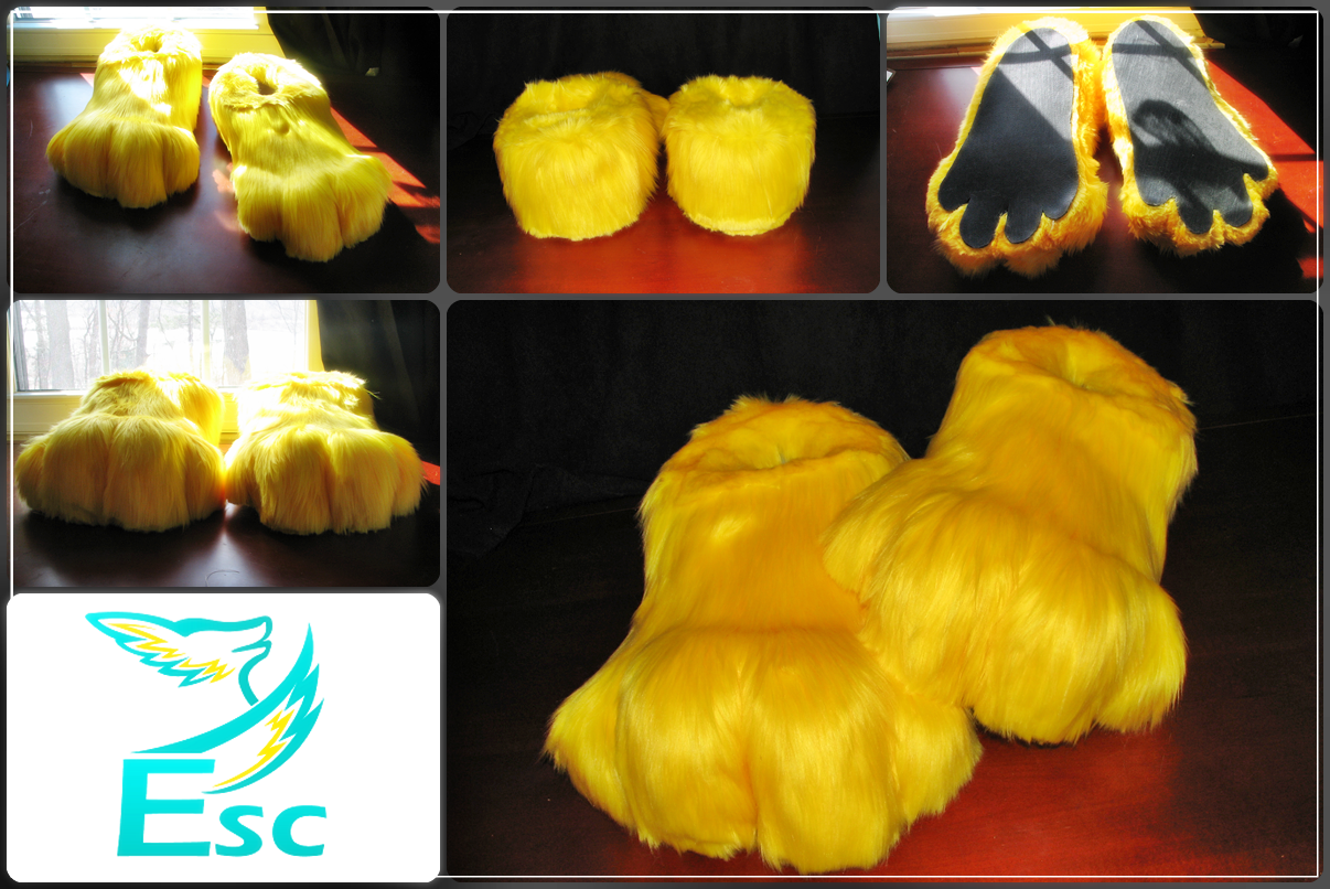 Yellow Fursuit Feet - Interior Slippers by Eternalskyy