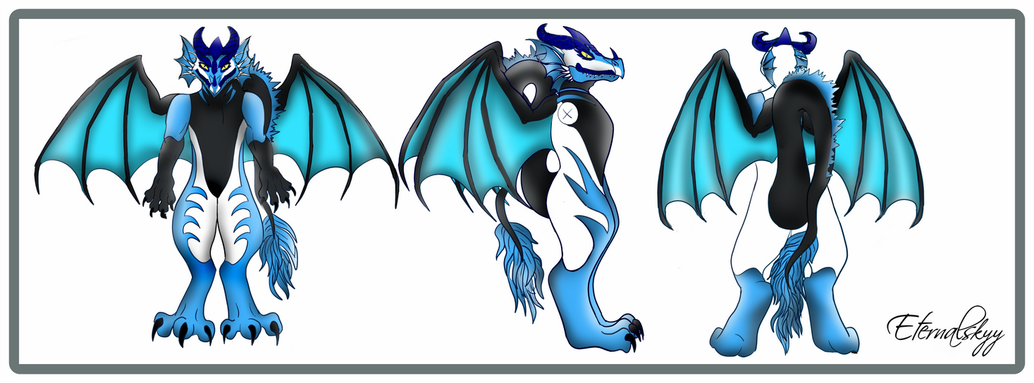 Dragon Fursuit Ref: Black, Blue and White by Eternalskyy