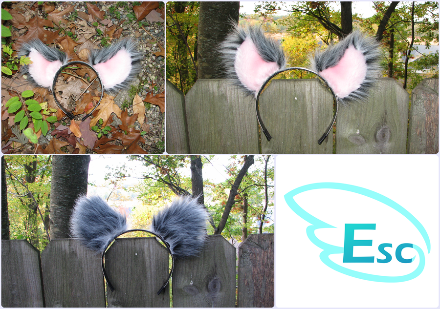 Gray and Pink Cat Ears Headband Accessory by Eternalskyy