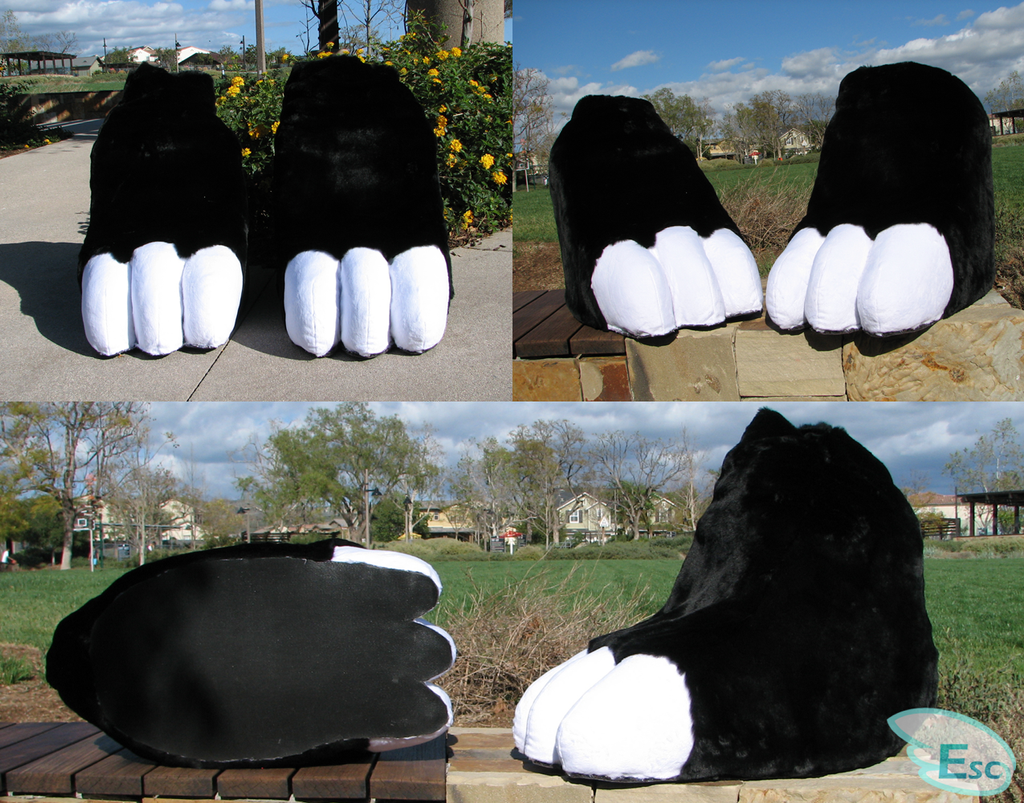 Stompy Black and White Dragon Fursuit Feet (2018) by Eternalskyy