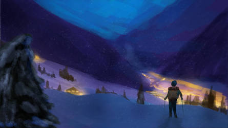 Snowy Hike by Evergreena