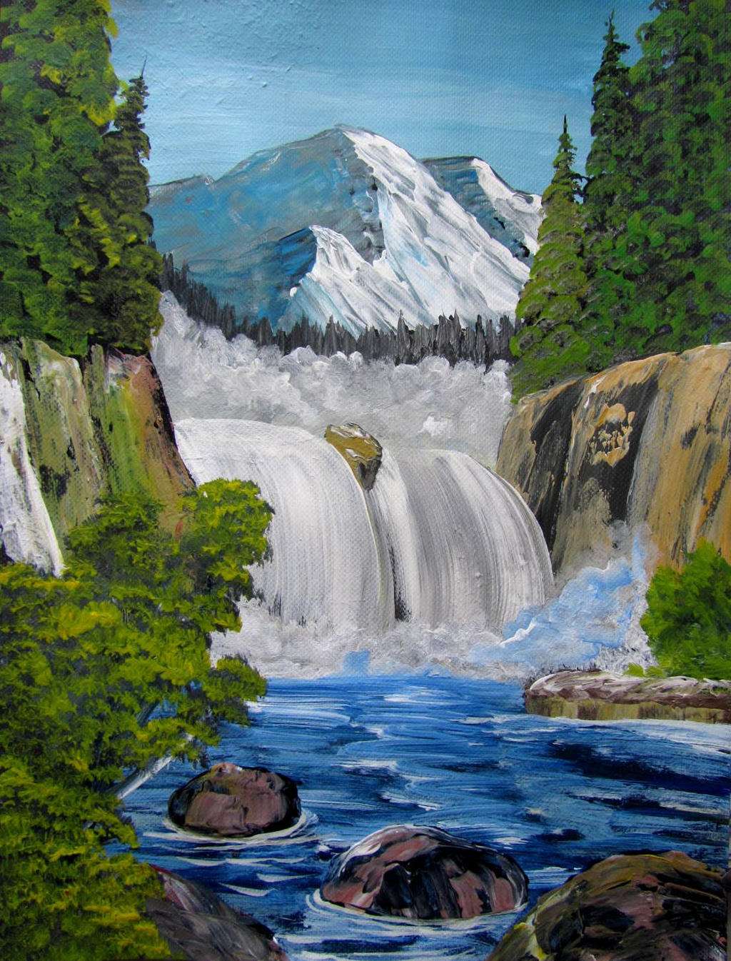 573 Spectacular Waterfall (Bob Ross) by mengenstrom on