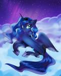 Luna in the night sky