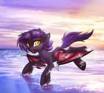 Running in the seaside
