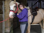 Girl and horse stock