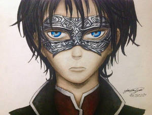 Manga character with silver mask