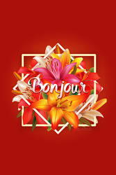 Bonjour Flower postcard