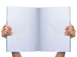 Hand holding magazine PNG