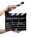 Hands holding clapperboard PNG