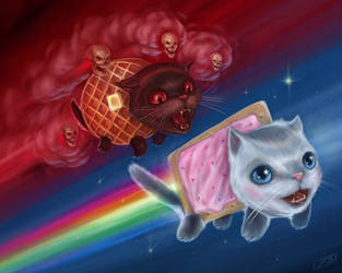 Nyan Cat vs. Tac Nayn by jrbarker
