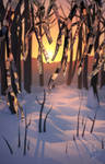 Low poly winter landscape