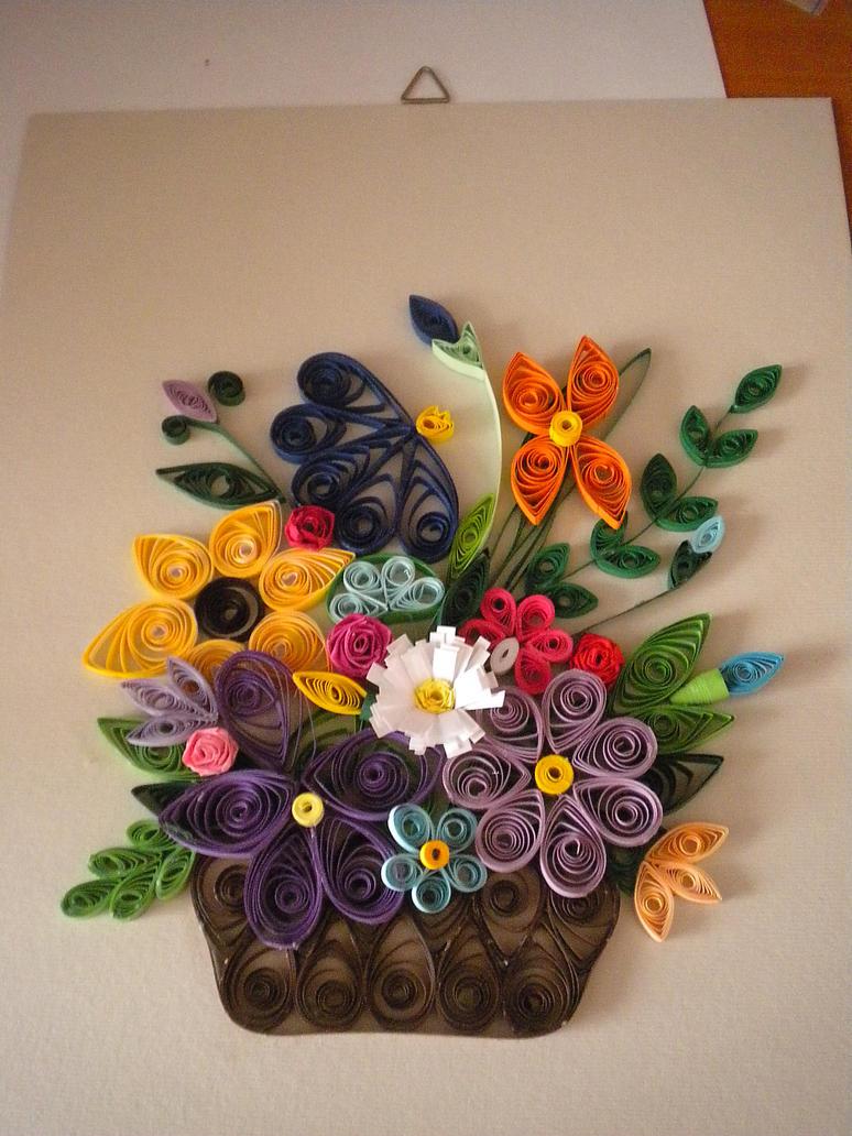 Quilled floral arrangement by YoyoTheMadScientist