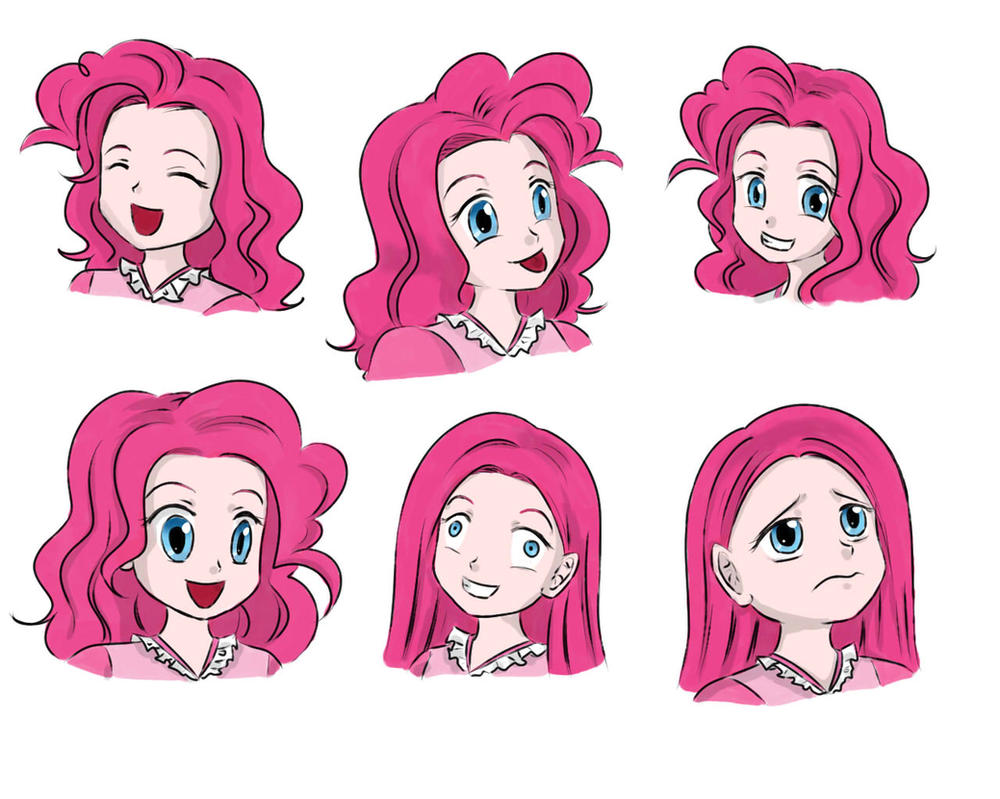[MLP]Pinkie Pie-pony-human-facial expression by Pennygu
