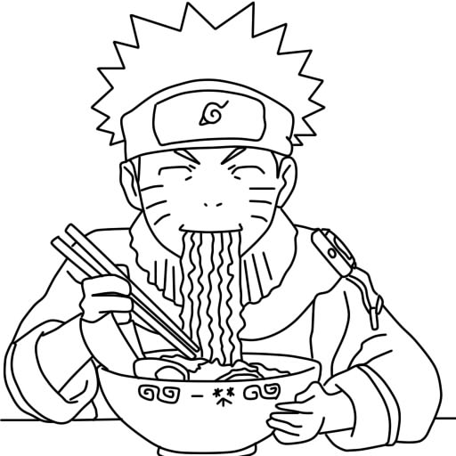 naruto eating ramen coloring pages - photo#3