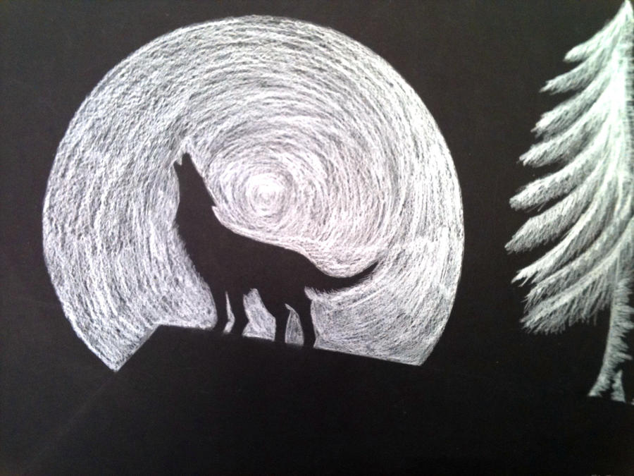 Howling Wolf Sillouette By Hatchetcat