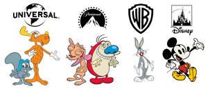 Major film studios' respective cartoon mascots by RedheadXilamGuy