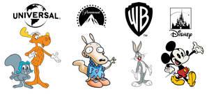 Major film studios' respective cartoon mascots