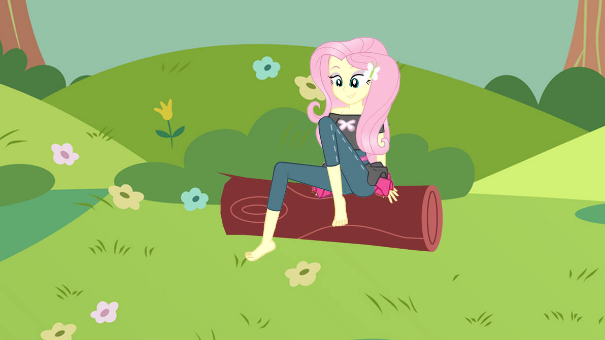 Fluttershy feeling the grass with her feet