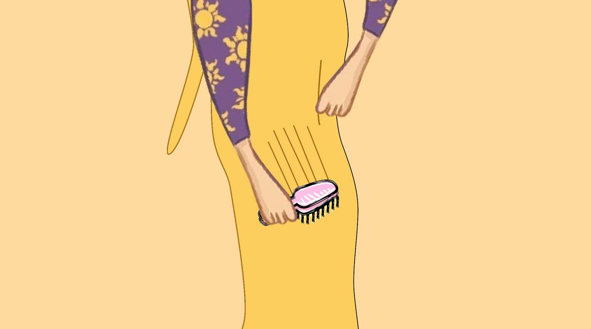 Rapunzel's beautiful feet brushing her hair